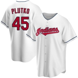 Adam Plutko Cleveland Indians Youth Replica Home Jersey - White
