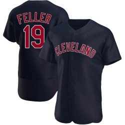 Bob Feller Cleveland Indians Men's Authentic Alternate Jersey - Navy