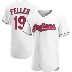 Bob Feller Cleveland Indians Men's Authentic Home Jersey - White