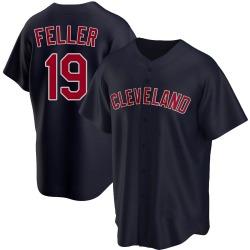 Bob Feller Cleveland Indians Men's Replica Alternate Jersey - Navy