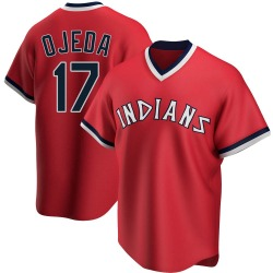 Bob Ojeda Cleveland Indians Men's Replica Road Cooperstown Collection Jersey - Red