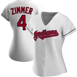 Bradley Zimmer Cleveland Indians Women's Authentic Home Jersey - White