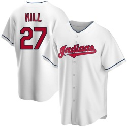 Cameron Hill Cleveland Indians Men's Replica Home Jersey - White