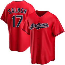 Chico Salmon Cleveland Indians Men's Replica Alternate Jersey - Red