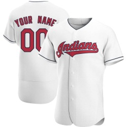 Custom Cleveland Indians Men's Authentic Home Jersey - White