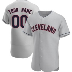 Custom Cleveland Indians Men's Authentic Road Jersey - Gray