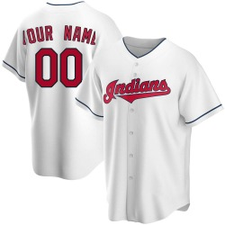 Custom Cleveland Indians Men's Replica Home Jersey - White