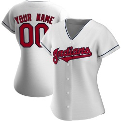 Custom Cleveland Indians Women's Authentic Home Jersey - White