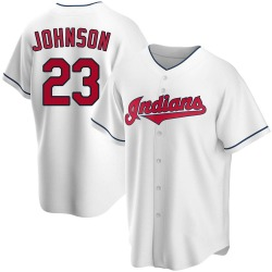 Daniel Johnson Cleveland Indians Youth Replica Home Jersey - White