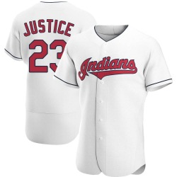David Justice Cleveland Indians Men's Authentic Home Jersey - White