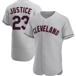 David Justice Cleveland Indians Men's Authentic Road Jersey - Gray