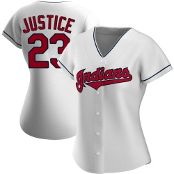 David Justice Cleveland Indians Women's Authentic Home Jersey - White