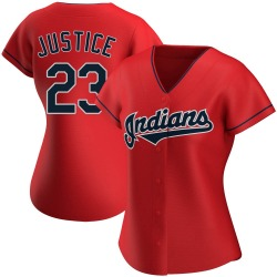 David Justice Cleveland Indians Women's Replica Alternate Jersey - Red