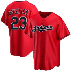 David Justice Cleveland Indians Youth Replica Alternate Jersey - Red
