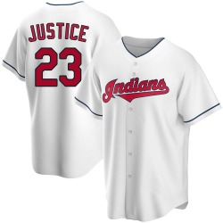 David Justice Cleveland Indians Youth Replica Home Jersey - White