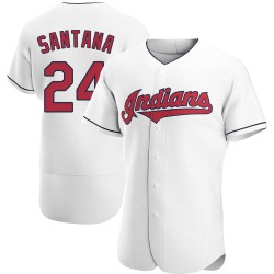 Domingo Santana Cleveland Indians Men's Authentic Home Jersey - White