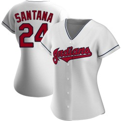 Domingo Santana Cleveland Indians Women's Authentic Home Jersey - White