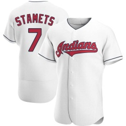 Eric Stamets Cleveland Indians Men's Authentic Home Jersey - White