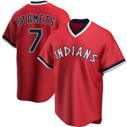 Eric Stamets Cleveland Indians Men's Replica Road Cooperstown Collection Jersey - Red