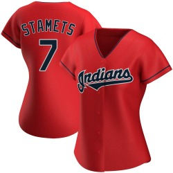 Eric Stamets Cleveland Indians Women's Authentic Alternate Jersey - Red