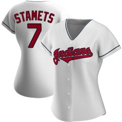 Eric Stamets Cleveland Indians Women's Authentic Home Jersey - White