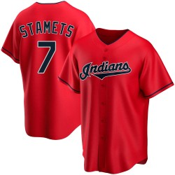 Eric Stamets Cleveland Indians Youth Replica Alternate Jersey - Red
