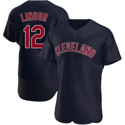 Francisco Lindor Cleveland Indians Men's Authentic Alternate Jersey - Navy