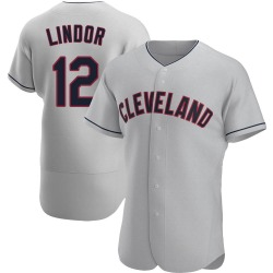 Francisco Lindor Cleveland Indians Men's Authentic Road Jersey - Gray