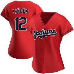 Francisco Lindor Cleveland Indians Women's Authentic Alternate Jersey - Red