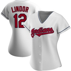 Francisco Lindor Cleveland Indians Women's Authentic Home Jersey - White