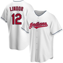Francisco Lindor Cleveland Indians Youth Replica Home Jersey - White