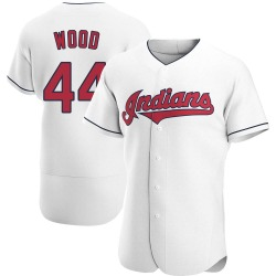 Hunter Wood Cleveland Indians Men's Authentic Home Jersey - White