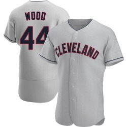 Hunter Wood Cleveland Indians Men's Authentic Road Jersey - Gray