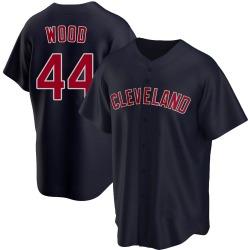 Hunter Wood Cleveland Indians Men's Replica Alternate Jersey - Navy
