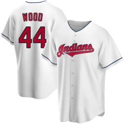 Hunter Wood Cleveland Indians Men's Replica Home Jersey - White