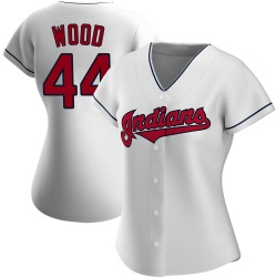 Hunter Wood Cleveland Indians Women's Replica Home Jersey - White