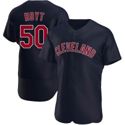 James Hoyt Cleveland Indians Men's Authentic Alternate Jersey - Navy