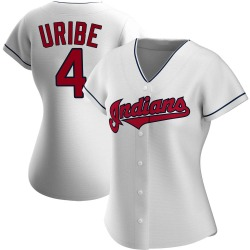 Juan Uribe Cleveland Indians Women's Authentic Home Jersey - White