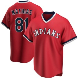 Mark Mathias Cleveland Indians Men's Replica Road Cooperstown Collection Jersey - Red