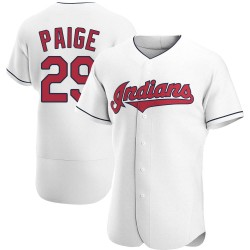 Satchel Paige Cleveland Indians Men's Authentic Home Jersey - White