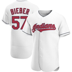 Shane Bieber Cleveland Indians Men's Authentic Home Jersey - White