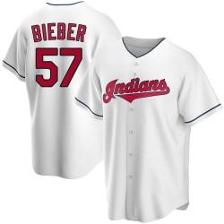Shane Bieber Cleveland Indians Men's Replica Home Jersey - White