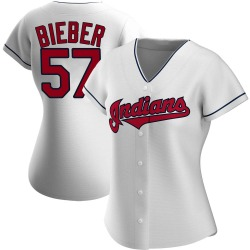 Shane Bieber Cleveland Indians Women's Authentic Home Jersey - White