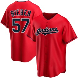 Shane Bieber Cleveland Indians Youth Replica Alternate Jersey - Red
