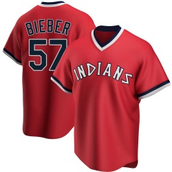 Shane Bieber Cleveland Indians Youth Replica Road Cooperstown Collection Jersey - Red