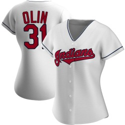 Steve Olin Cleveland Indians Women's Authentic Home Jersey - White