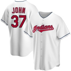 Tommy John Cleveland Indians Men's Replica Home Jersey - White