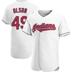 Tyler Olson Cleveland Indians Men's Authentic Home Jersey - White