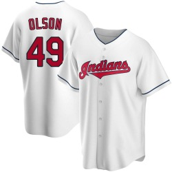 Tyler Olson Cleveland Indians Youth Replica Home Jersey - White