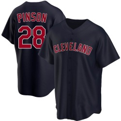 Vada Pinson Cleveland Indians Men's Replica Alternate Jersey - Navy